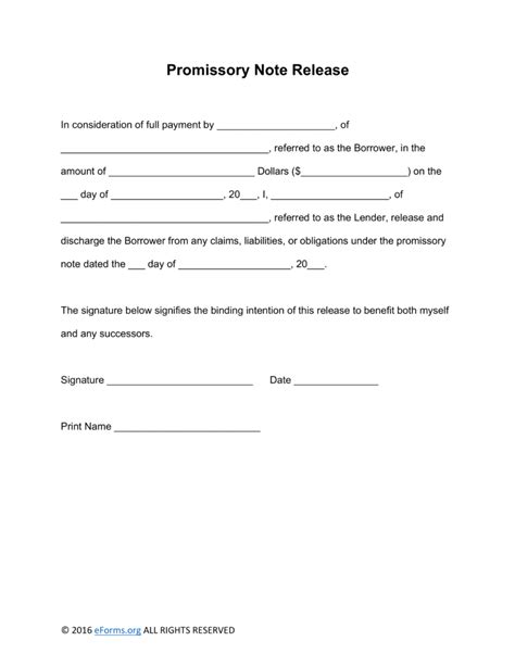 free promissory note template for personal loan free promissory note loan release form word promissory note template word templates trakore