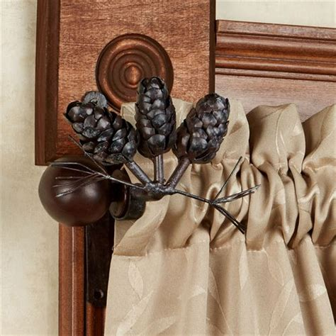 pine cone curtain rods pine cone metal window hardware