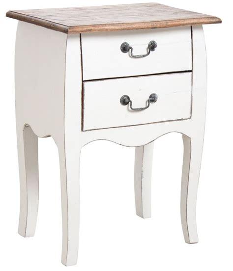 Table De Nuit table de nuit 2 tiroirs en bois blanc