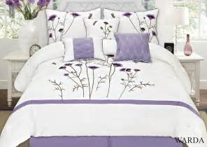 warda 7 piece embroidered comforter set colors lavender white available in king queen