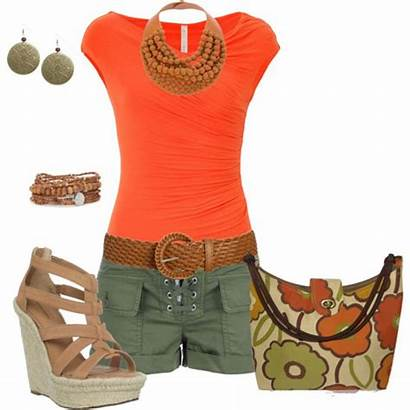 Outfits Summer Orange Polyvore Outfit Dresses Bright