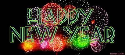 Happy Fireworks Colorful Card Wishing Rainbow Newyear