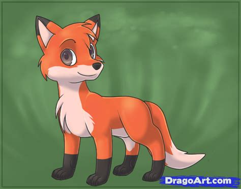 How To Draw An Easy Fox, Step By Step, Cartoon Animals