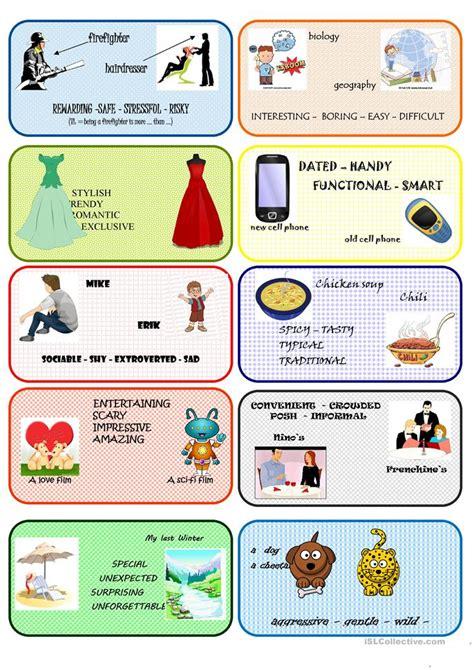 comparative conversation cards  worksheet  esl
