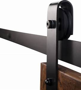 Industrial Barn Door Hardware - Flat Black Finish - 7 ft