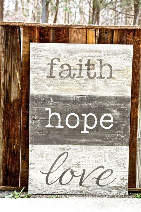 faith hope love large sign wall art pinterest hope rustic  signs