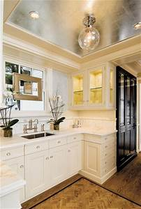 metallic silver foil ceiling transitional kitchen With what kind of paint to use on kitchen cabinets for gold mirror wall art
