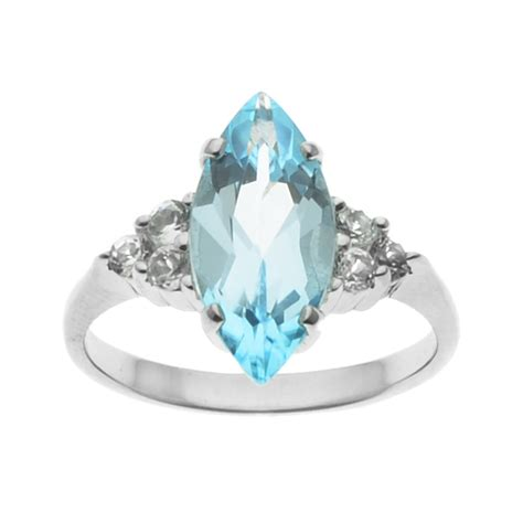 sterling silver sky blue topaz marquise center ring