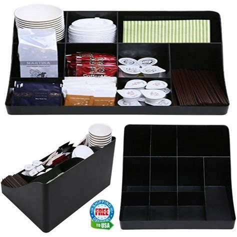 We tried to be smart about how we laid out our cabinets and drawers to hold all of our coffee and smoothie supplies coffee station supplies: Coffee Tea Station Condiment Shelf Bar Organizer for Office Home Breakroom Table 610602630637 | eBay