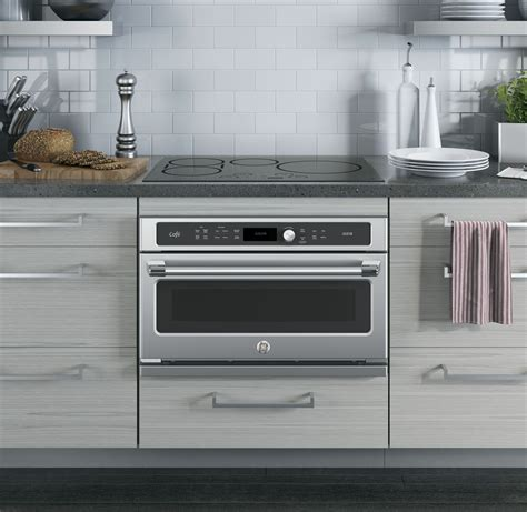 ge cafe stainless steel single wall oven csbsjss
