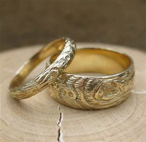 woodgrain wedding band set gold wood grain ring plywood 14 kt With wood grain wedding rings