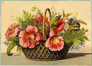 Vintage, Flower, Basket, Image