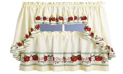 Curtains for kitchen, apple print kitchen curtains red