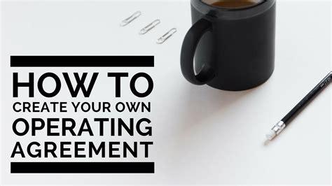 create   llc operating agreement youtube