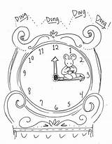 Hickory Dickory Dock Rhyme Learning sketch template