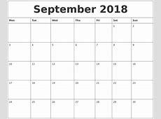 September 2018 Calendar Cute 2017 calendar with holidays