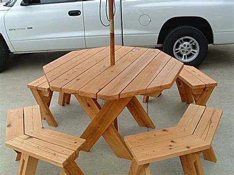 octagon picnic table built   tree google search