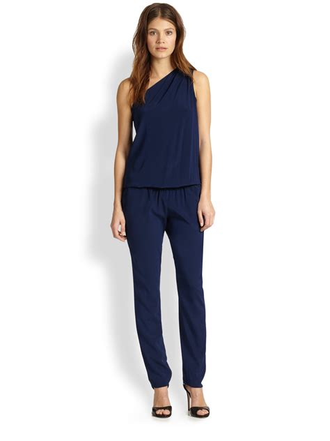 lulus jumpsuit ramy brook lulu stretch silk one shoulder jumpsuit in blue
