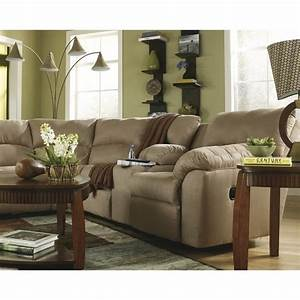 Ashley furniture amazon 2 piece fabric reclining sectional for 2 piece sectional sofa ashley