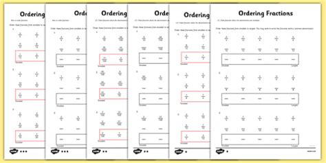 Year 5 Ordering Fractions Worksheet  Activity Sheet  Year 5