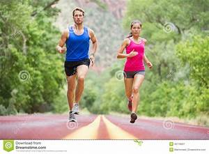 Running Young People - Jogging Training In Nature Stock ...