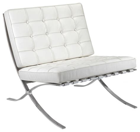 m331 barcelona lounge chair in white leather