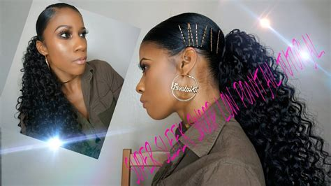 Deep Side Part Swoop Ponytail W/synthetic Hair Tutorial