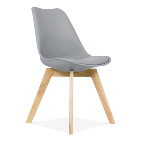 chaise eames grise cool grey dining chair with solid oak crossed wood legs