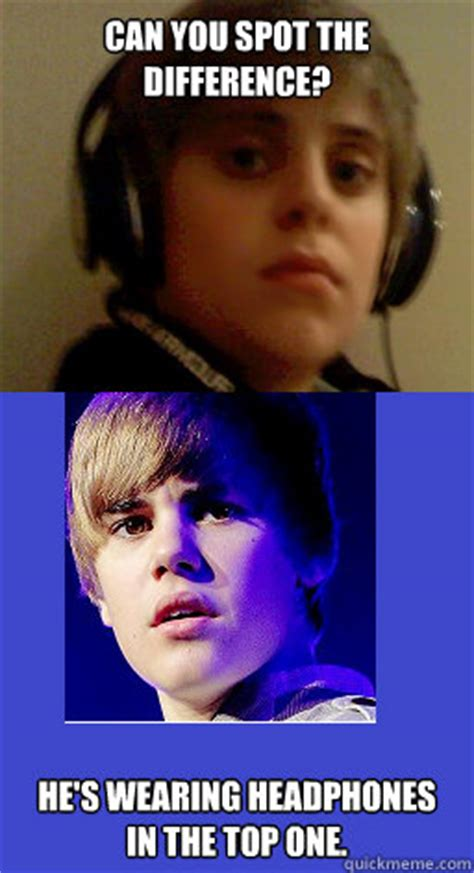 Baby Headphones Meme - can you spot the difference he s wearing headphones in the top one justin bieber 2 quickmeme