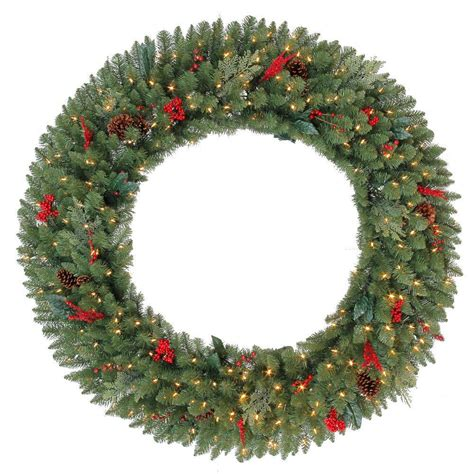 60 inch lighted outdoor christmas wreath martha stewart living decorate your home with the 60 in pre lit winslow artificial wreath with