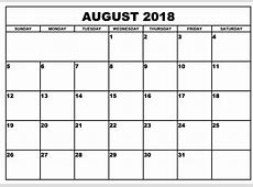August 2018 Monthly Calendar Excel, Word, PDF, Format