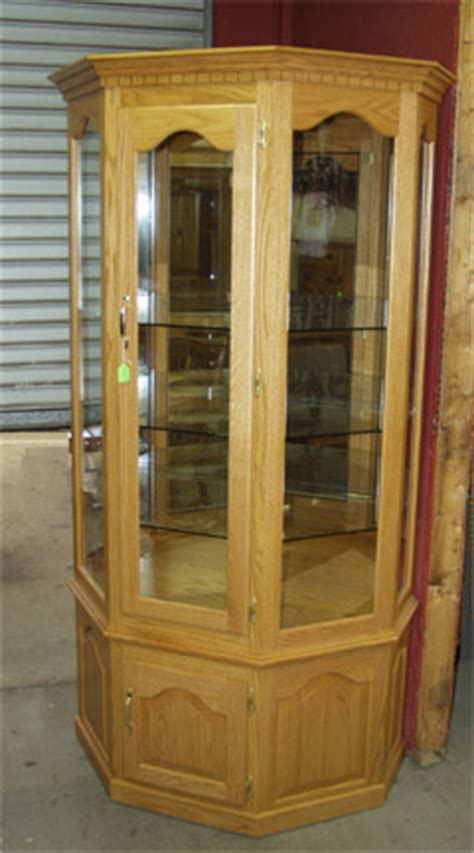amish solid oak curio 4 glass shelves can light