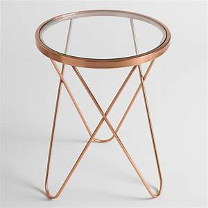 Table Basse Rose Gold : with a round glass top and a rose gold metal frame our sophisticated side table is a modern ~ Teatrodelosmanantiales.com Idées de Décoration