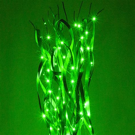 green curly lighted branches  green led lights  pc