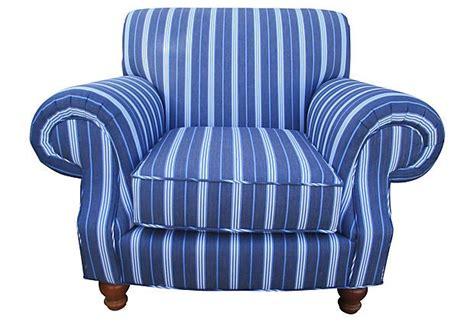 blue white striped club chair