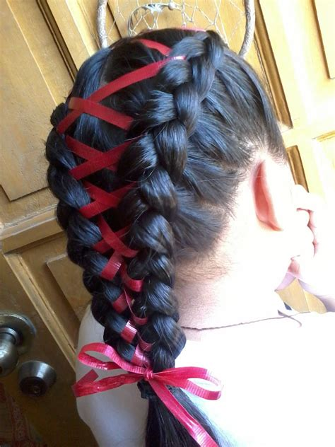 Braided Hair With Ribbon Hair Into Two Then You