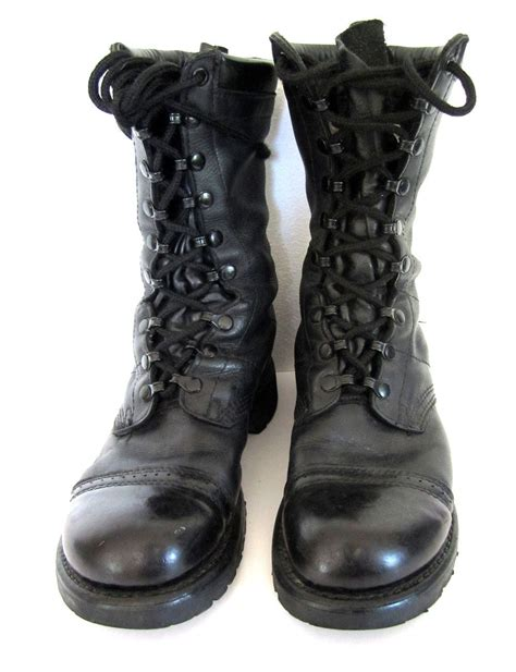 Army Semi Boot vintage 1980s black leather combat boots soldier