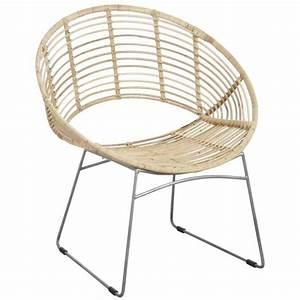 Fauteuil Rond Rotin : fauteuil rond en m tal et rotin naturel boisnature 39 l ~ Melissatoandfro.com Idées de Décoration