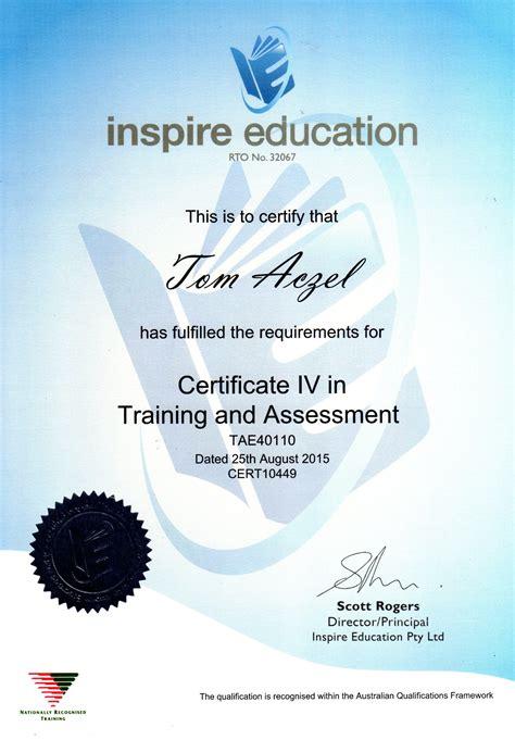 certificate   training  assessment certificates