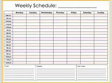 Hourly Calendar Template Planner Hour Daily Schedule