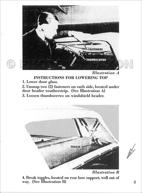 ford cabriolet convertible top owners manual reprint