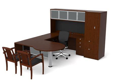 bureau furniture of4s p shaped u desk with hutch and pedestal 72 quot w x 98 quot d