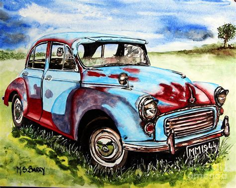 Morris Minor Painting By Maria Barry