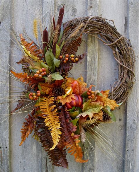 autumn door decorations autumn woodland wreath