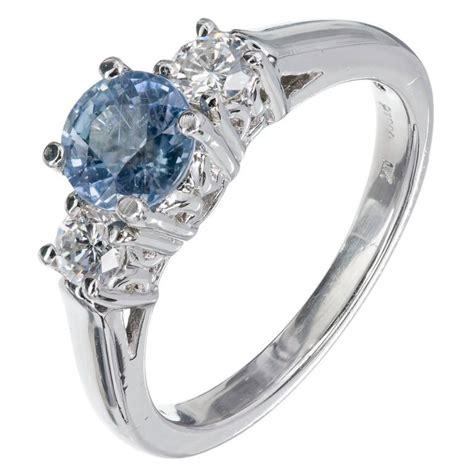 light blue ring light blue sapphire platinum three