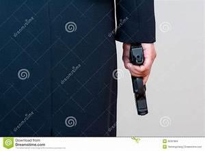 Woman Holding Hand Gun On White Background Stock Photo ...