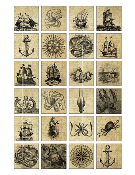 nautical vintage squares bottlecapu