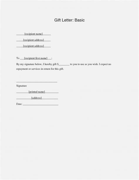 mortgage gift letter template gift letter for mortgage template business