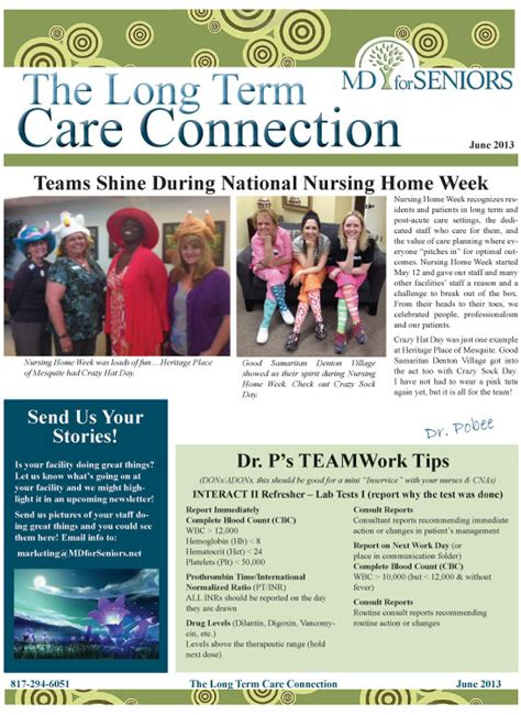 long term connection newsletter providing excellence