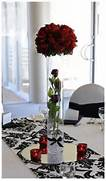 Table Decorations Black And White Theme Centerpieces Black Red And White Wedding Wedding Ideas Black White